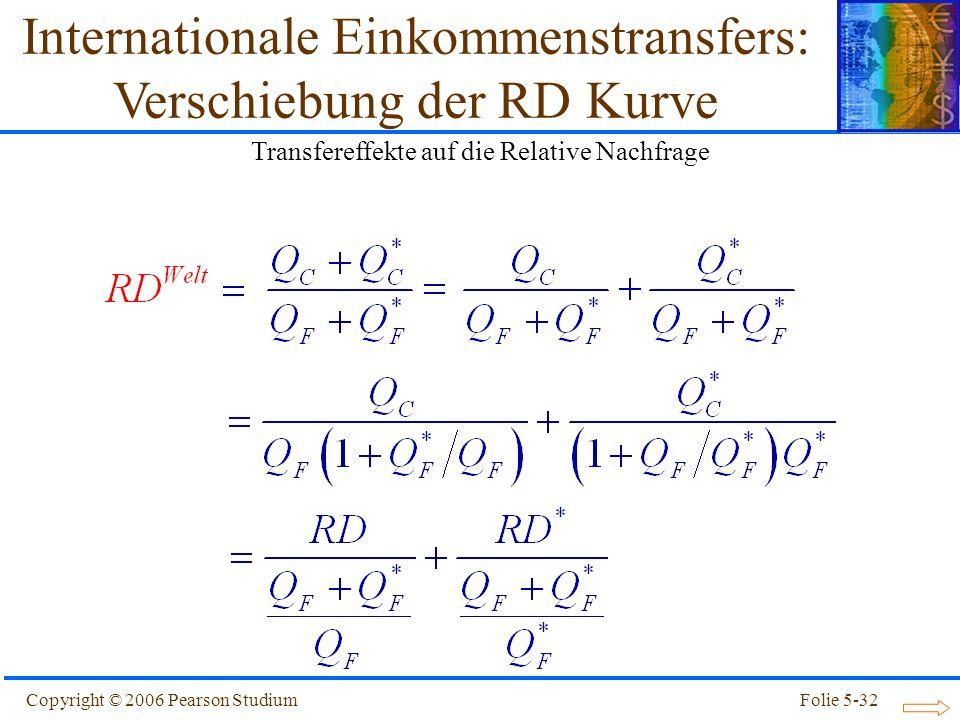 Copyright © 2006 Pearson StudiumFolie 5-32 Internationale Einkommenstransfers: Verschiebung der RD Kurve Transfereffekte auf die Relative Nachfrage
