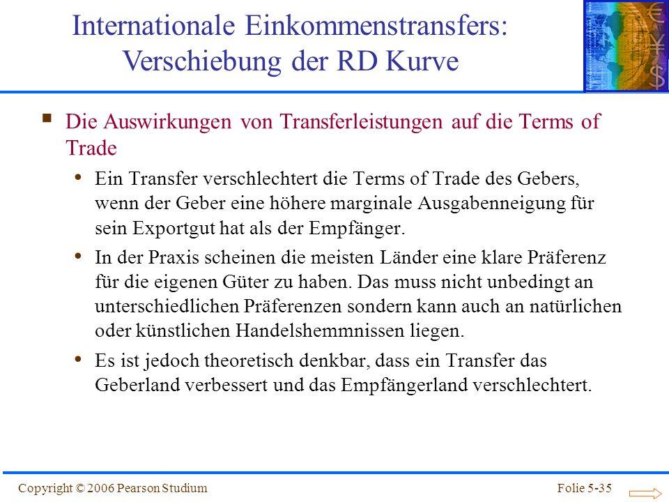 Copyright © 2006 Pearson StudiumFolie 5-35 Die Auswirkungen von Transferleistungen auf die Terms of Trade Ein Transfer verschlechtert die Terms of Tra