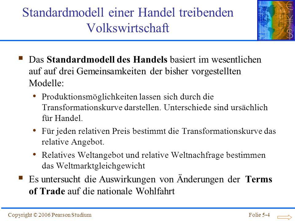 Copyright © 2006 Pearson StudiumFolie 5-4 Standardmodell einer Handel treibenden Volkswirtschaft Das Standardmodell des Handels basiert im wesentliche