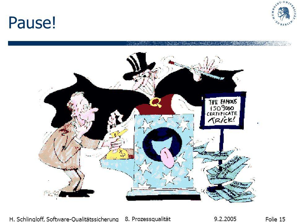 Folie 15 H. Schlingloff, Software-Qualitätssicherung 9.2.2005 8. Prozessqualität Pause!