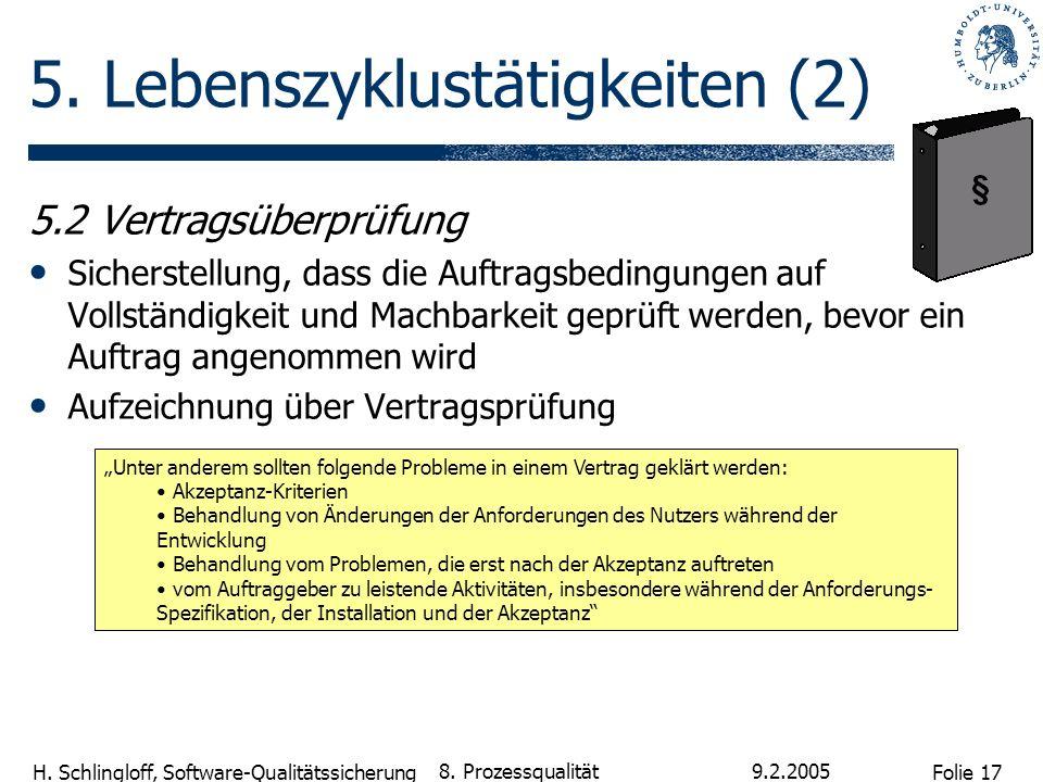 Folie 17 H. Schlingloff, Software-Qualitätssicherung 9.2.2005 8. Prozessqualität 5. Lebenszyklustätigkeiten (2) 5.2 Vertragsüberprüfung Sicherstellung