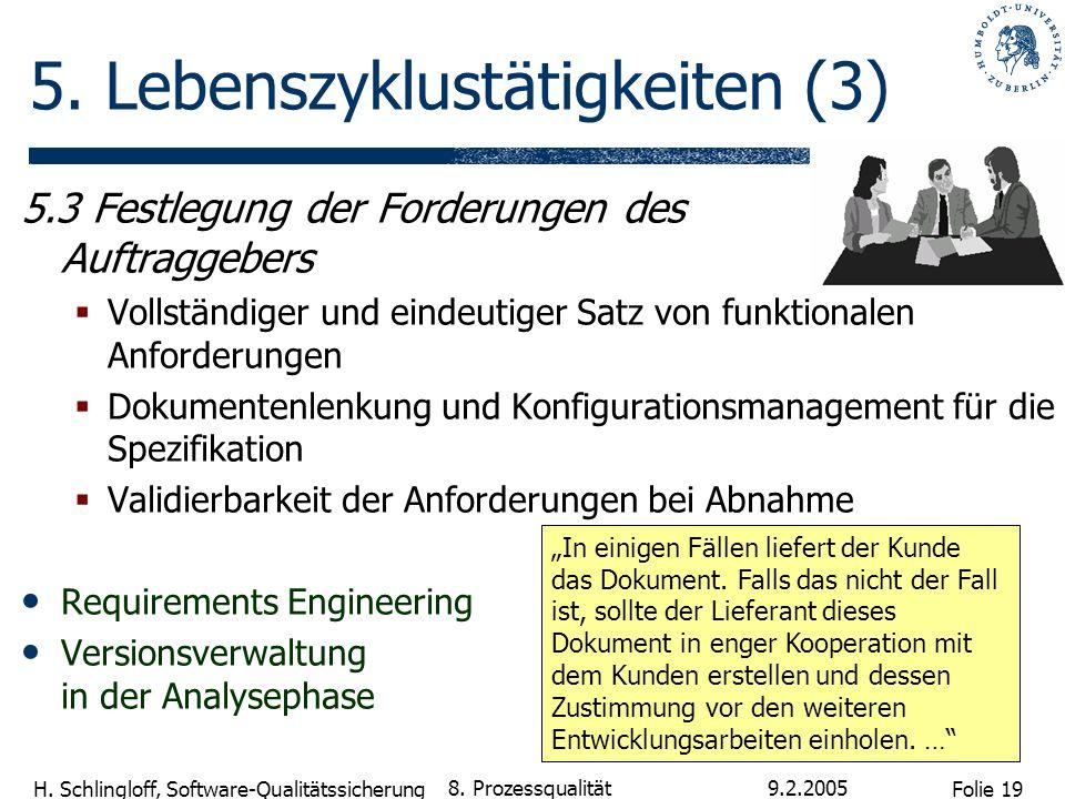 Folie 19 H. Schlingloff, Software-Qualitätssicherung 9.2.2005 8. Prozessqualität 5. Lebenszyklustätigkeiten (3) 5.3 Festlegung der Forderungen des Auf