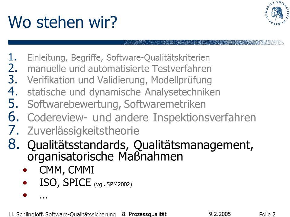 Folie 2 H. Schlingloff, Software-Qualitätssicherung 9.2.2005 8. Prozessqualität Wo stehen wir? 1. Einleitung, Begriffe, Software-Qualitätskriterien 2.