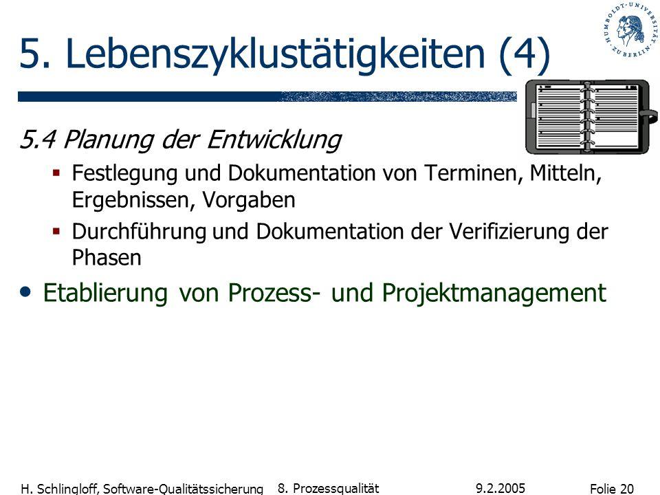 Folie 20 H. Schlingloff, Software-Qualitätssicherung 9.2.2005 8. Prozessqualität 5. Lebenszyklustätigkeiten (4) 5.4 Planung der Entwicklung Festlegung