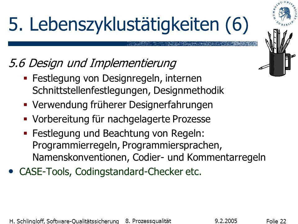 Folie 22 H. Schlingloff, Software-Qualitätssicherung 9.2.2005 8. Prozessqualität 5. Lebenszyklustätigkeiten (6) 5.6 Design und Implementierung Festleg
