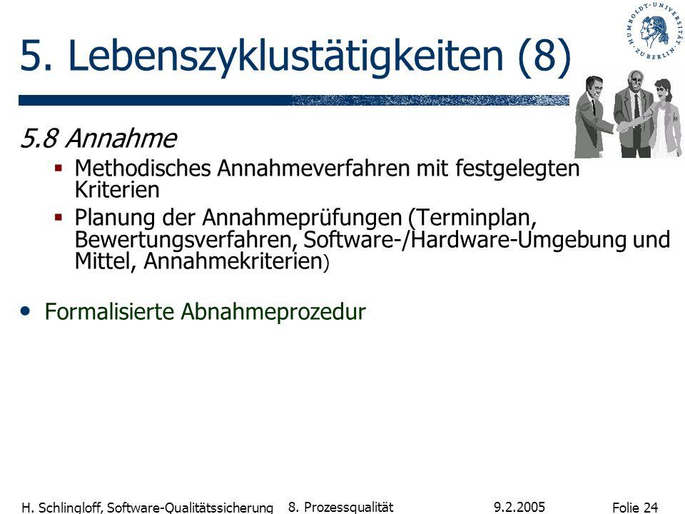 Folie 24 H. Schlingloff, Software-Qualitätssicherung 9.2.2005 8. Prozessqualität 5. Lebenszyklustätigkeiten (8) 5.8 Annahme Methodisches Annahmeverfah