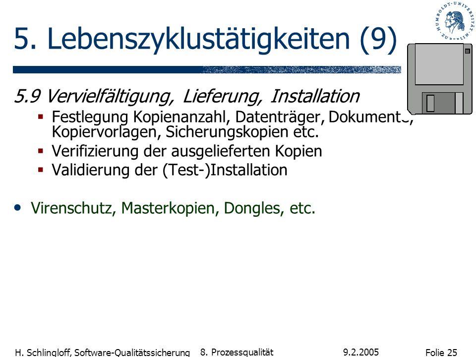 Folie 25 H. Schlingloff, Software-Qualitätssicherung 9.2.2005 8. Prozessqualität 5. Lebenszyklustätigkeiten (9) 5.9 Vervielfältigung, Lieferung, Insta