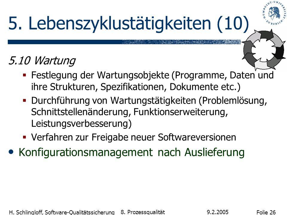 Folie 26 H. Schlingloff, Software-Qualitätssicherung 9.2.2005 8. Prozessqualität 5. Lebenszyklustätigkeiten (10) 5.10 Wartung Festlegung der Wartungso