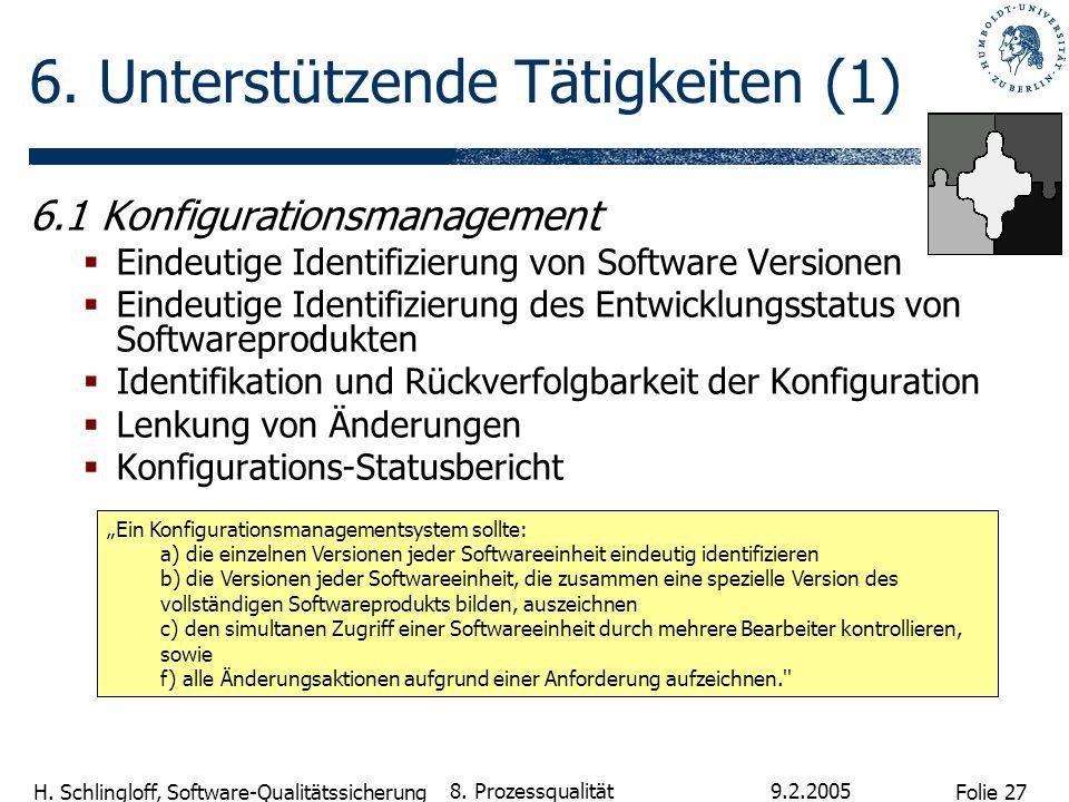 Folie 27 H. Schlingloff, Software-Qualitätssicherung 9.2.2005 8. Prozessqualität 6. Unterstützende Tätigkeiten (1) 6.1 Konfigurationsmanagement Eindeu