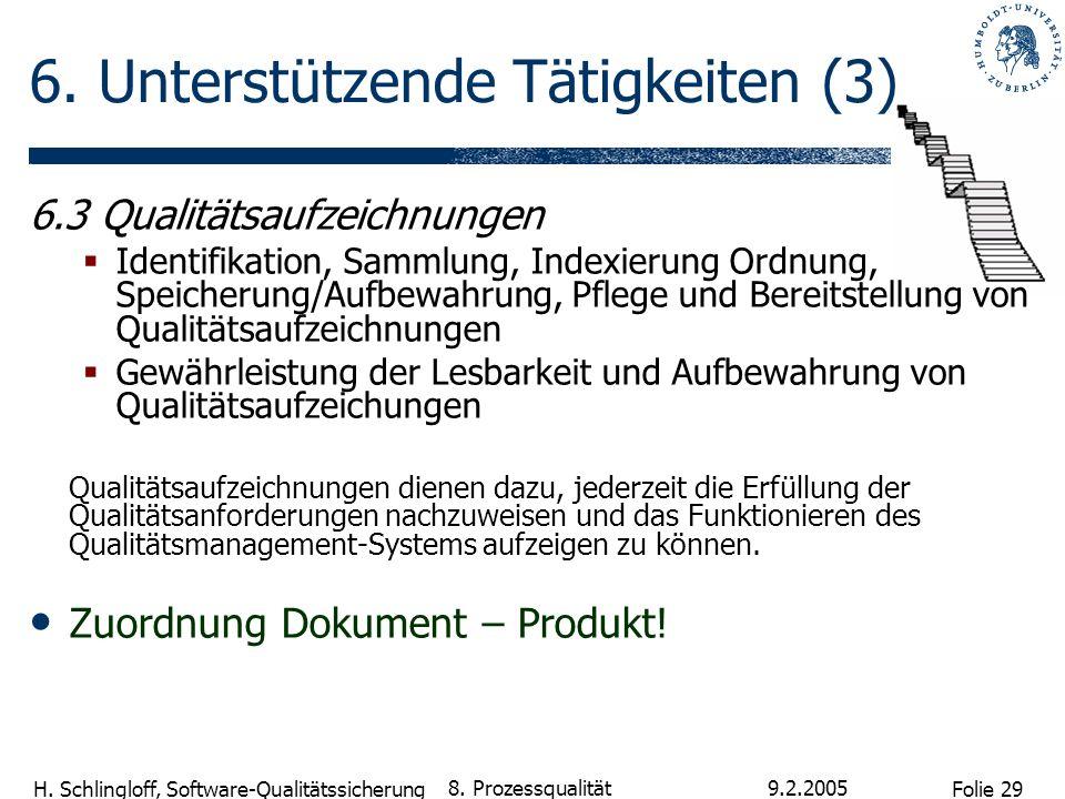 Folie 29 H. Schlingloff, Software-Qualitätssicherung 9.2.2005 8. Prozessqualität 6. Unterstützende Tätigkeiten (3) 6.3 Qualitätsaufzeichnungen Identif