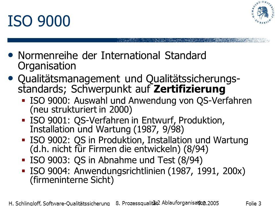 Folie 3 H. Schlingloff, Software-Qualitätssicherung 9.2.2005 8. Prozessqualität ISO 9000 Normenreihe der International Standard Organisation Qualitäts