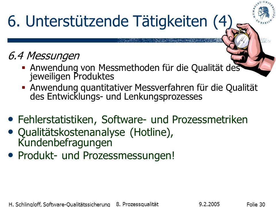 Folie 30 H. Schlingloff, Software-Qualitätssicherung 9.2.2005 8. Prozessqualität 6. Unterstützende Tätigkeiten (4) 6.4 Messungen Anwendung von Messmet