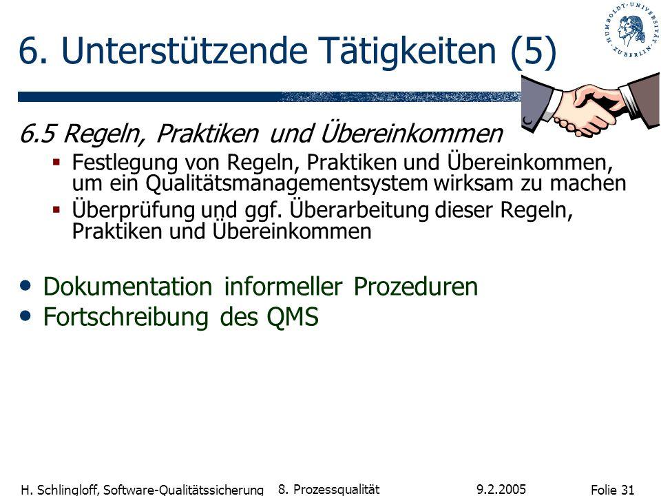 Folie 31 H. Schlingloff, Software-Qualitätssicherung 9.2.2005 8. Prozessqualität 6. Unterstützende Tätigkeiten (5) 6.5 Regeln, Praktiken und Übereinko