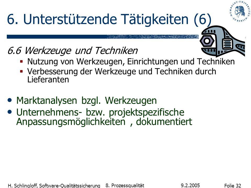 Folie 32 H. Schlingloff, Software-Qualitätssicherung 9.2.2005 8. Prozessqualität 6. Unterstützende Tätigkeiten (6) 6.6 Werkzeuge und Techniken Nutzung