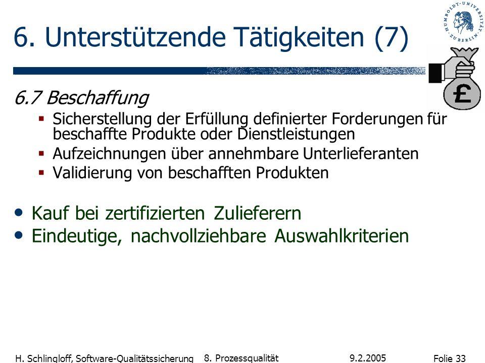 Folie 33 H. Schlingloff, Software-Qualitätssicherung 9.2.2005 8. Prozessqualität 6. Unterstützende Tätigkeiten (7) 6.7 Beschaffung Sicherstellung der