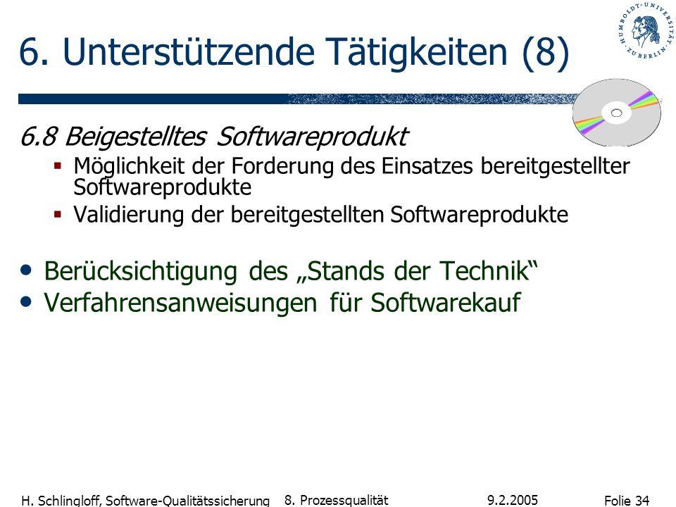 Folie 34 H. Schlingloff, Software-Qualitätssicherung 9.2.2005 8. Prozessqualität 6. Unterstützende Tätigkeiten (8) 6.8 Beigestelltes Softwareprodukt M
