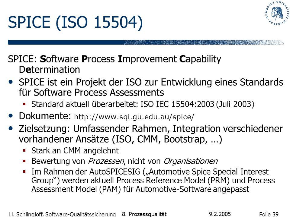 Folie 39 H. Schlingloff, Software-Qualitätssicherung 9.2.2005 8. Prozessqualität SPICE (ISO 15504) SPICE: Software Process Improvement Capability Dete