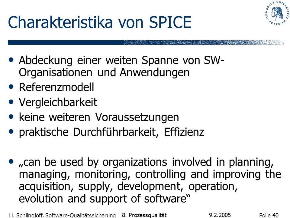 Folie 40 H. Schlingloff, Software-Qualitätssicherung 9.2.2005 8. Prozessqualität Charakteristika von SPICE Abdeckung einer weiten Spanne von SW- Organ