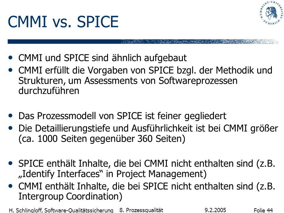 Folie 44 H. Schlingloff, Software-Qualitätssicherung 9.2.2005 8. Prozessqualität CMMI vs. SPICE CMMI und SPICE sind ähnlich aufgebaut CMMI erfüllt die