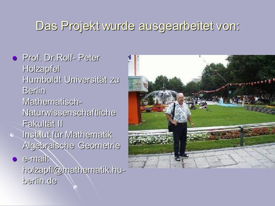 Das Projekt wurde ausgearbeitet von: Prof.