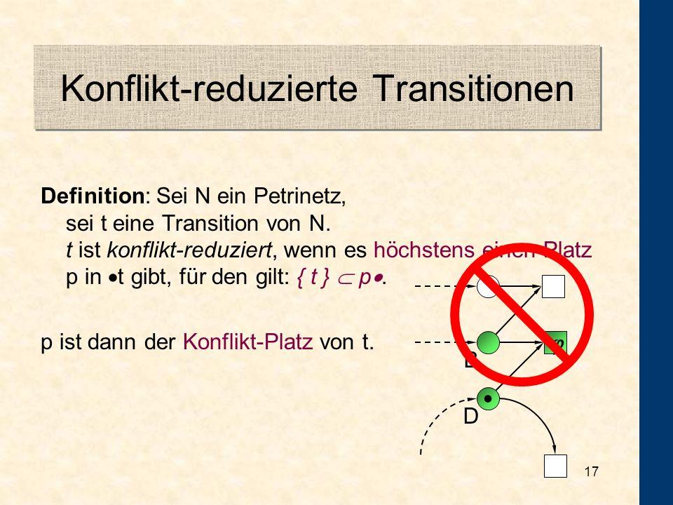 16 Fairness A ab cd BC D E N 16 = Beobachtung: Alle Transitionen sind konflikt-reduziert. Wenn eine -Transition unendlich oft aktiviert ist, wird sie