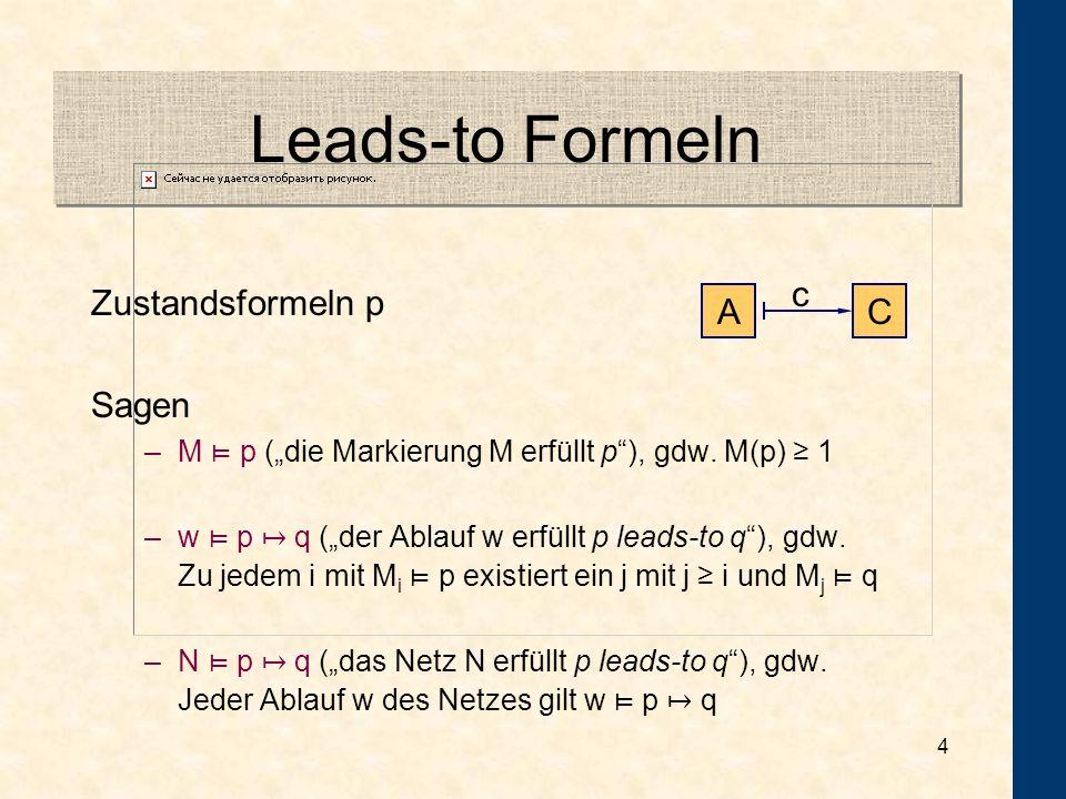 4 Leads-to Formeln Zustandsformeln p Sagen –M p (die Markierung M erfüllt p), gdw.