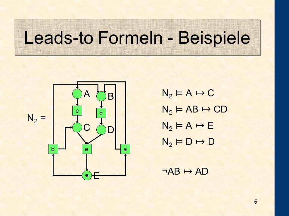 4 Leads-to Formeln Zustandsformeln p Sagen –M p (die Markierung M erfüllt p), gdw. M(p) 1 –w p q (der Ablauf w erfüllt p leads-to q), gdw. Zu jedem i