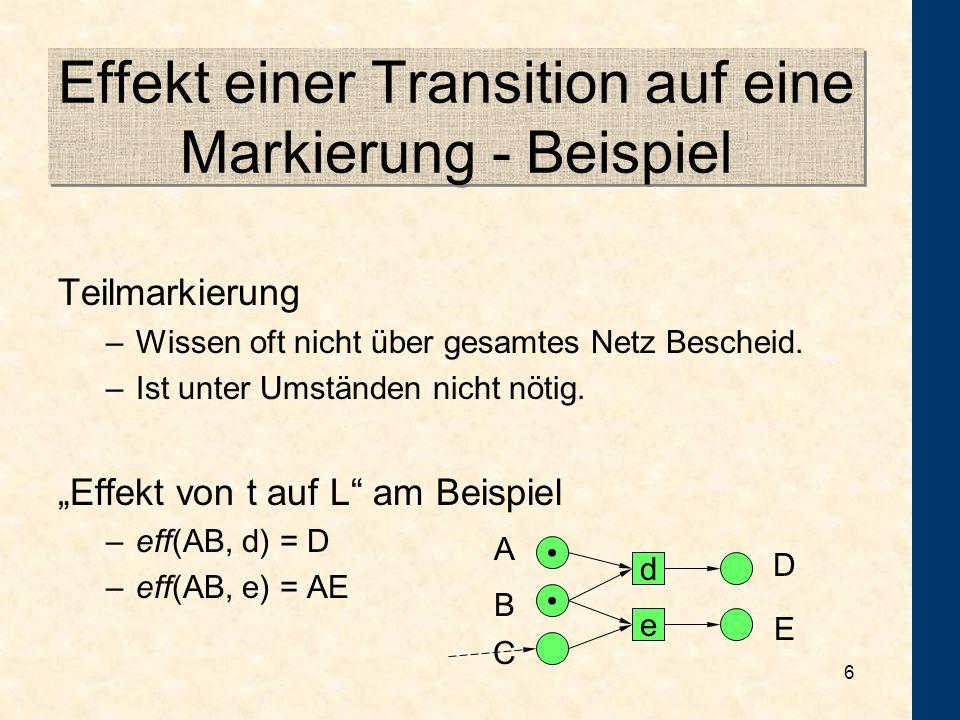 6 Effekt einer Transition auf eine Markierung - Beispiel Teilmarkierung –Wissen oft nicht über gesamtes Netz Bescheid.