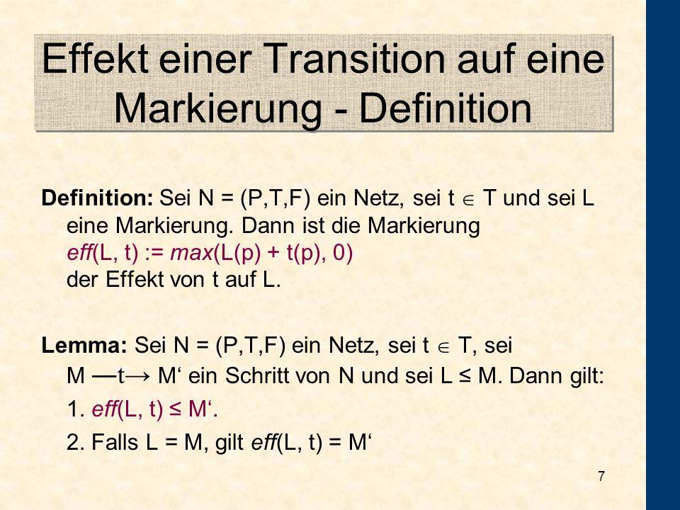 7 Effekt einer Transition auf eine Markierung - Definition Definition: Sei N = (P,T,F) ein Netz, sei t T und sei L eine Markierung.