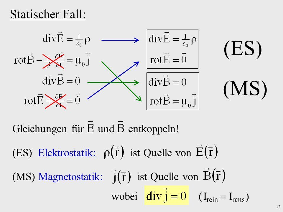 17 Statischer Fall: (ES) (MS) Gleichungen für und entkoppeln! (ES) Elektrostatik: ist Quelle von(MS) Magnetostatik: ist Quelle von wobei ( I rein I ra