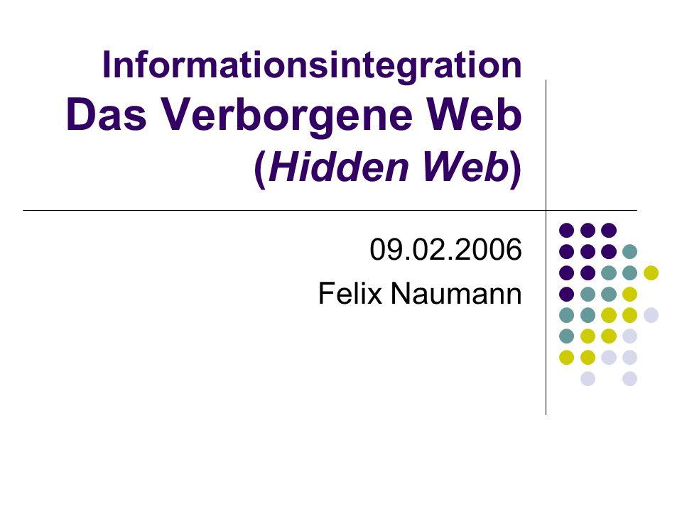 Informationsintegration Das Verborgene Web (Hidden Web) 09.02.2006 Felix Naumann