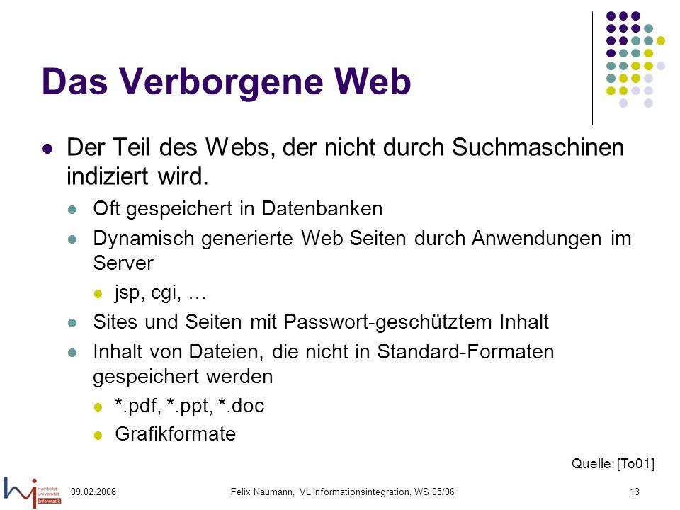 09.02.2006Felix Naumann, VL Informationsintegration, WS 05/0613 Das Verborgene Web Der Teil des Webs, der nicht durch Suchmaschinen indiziert wird.