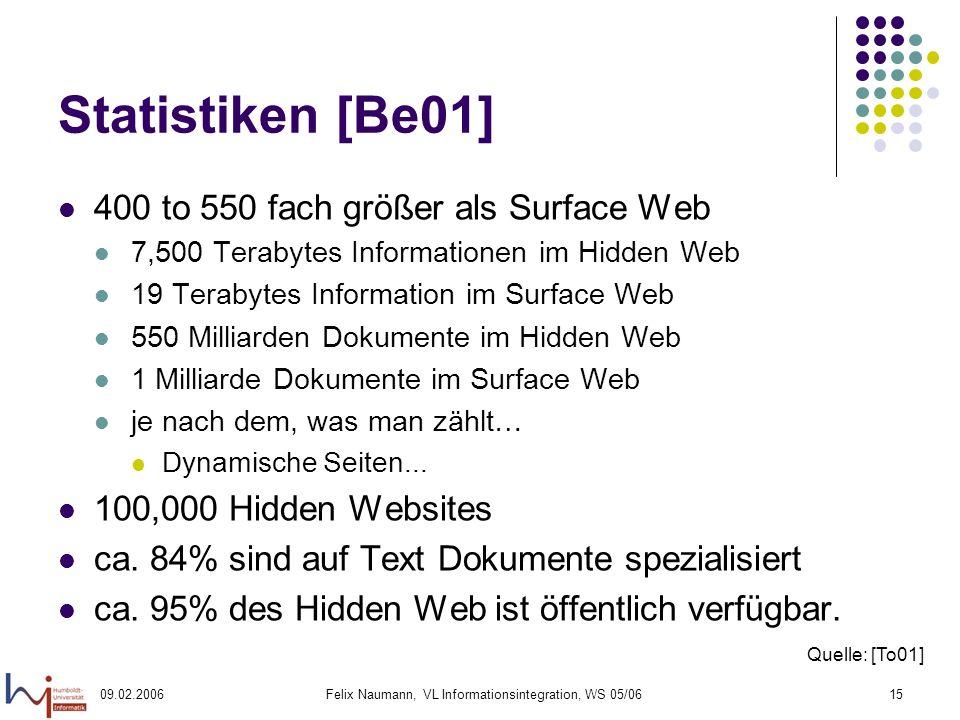 09.02.2006Felix Naumann, VL Informationsintegration, WS 05/0615 Statistiken [Be01] 400 to 550 fach größer als Surface Web 7,500 Terabytes Informatione