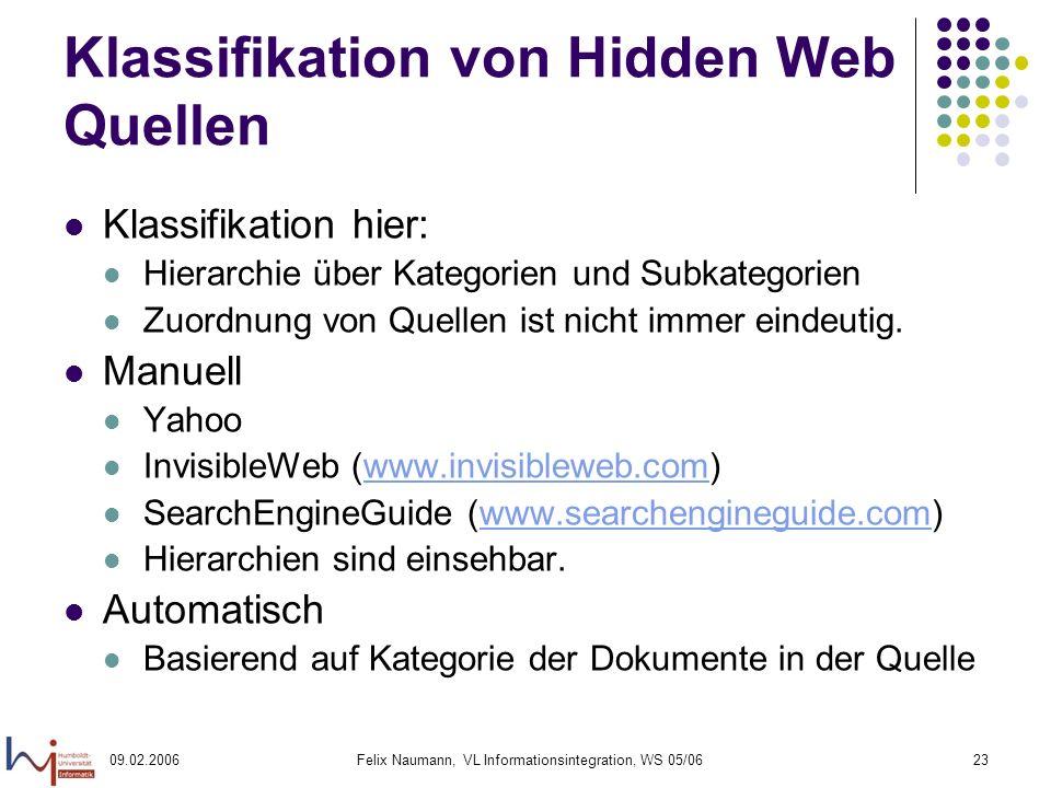 09.02.2006Felix Naumann, VL Informationsintegration, WS 05/0623 Klassifikation von Hidden Web Quellen Klassifikation hier: Hierarchie über Kategorien und Subkategorien Zuordnung von Quellen ist nicht immer eindeutig.