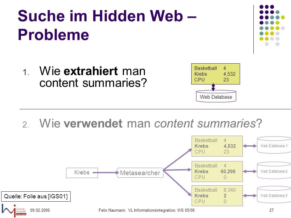 09.02.2006Felix Naumann, VL Informationsintegration, WS 05/0627 Suche im Hidden Web – Probleme 1.