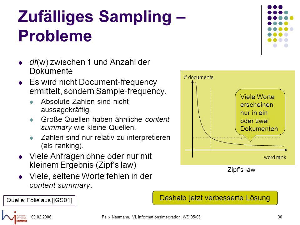 09.02.2006Felix Naumann, VL Informationsintegration, WS 05/0630 Zufälliges Sampling – Probleme df(w) zwischen 1 und Anzahl der Dokumente Es wird nicht Document-frequency ermittelt, sondern Sample-frequency.