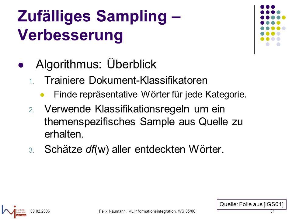09.02.2006Felix Naumann, VL Informationsintegration, WS 05/0631 Zufälliges Sampling – Verbesserung Algorithmus: Überblick 1.