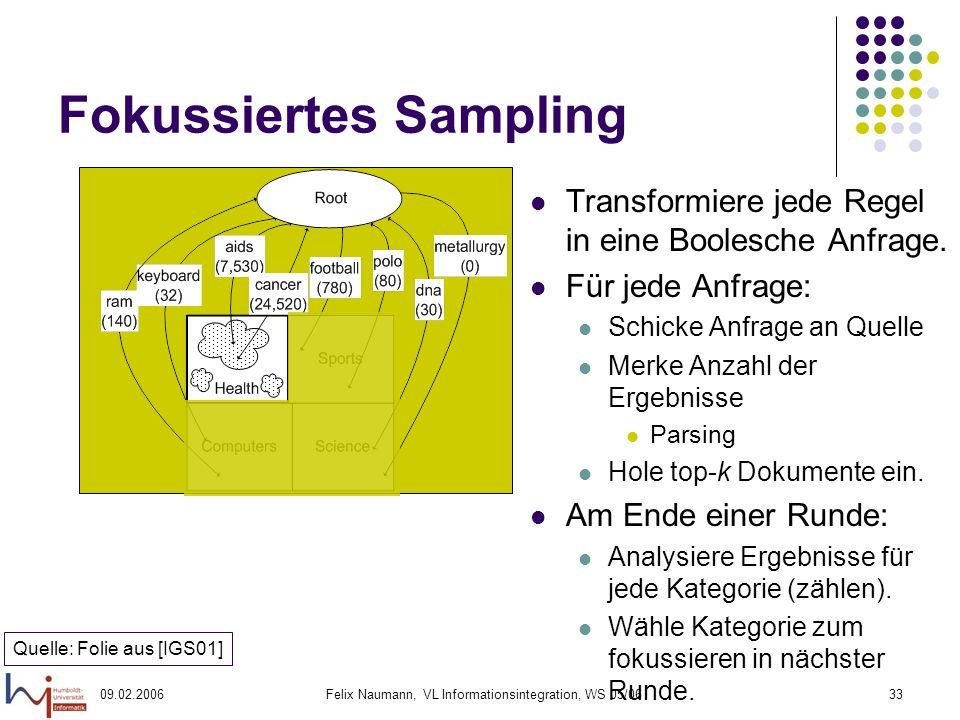 09.02.2006Felix Naumann, VL Informationsintegration, WS 05/0633 Fokussiertes Sampling Transformiere jede Regel in eine Boolesche Anfrage.