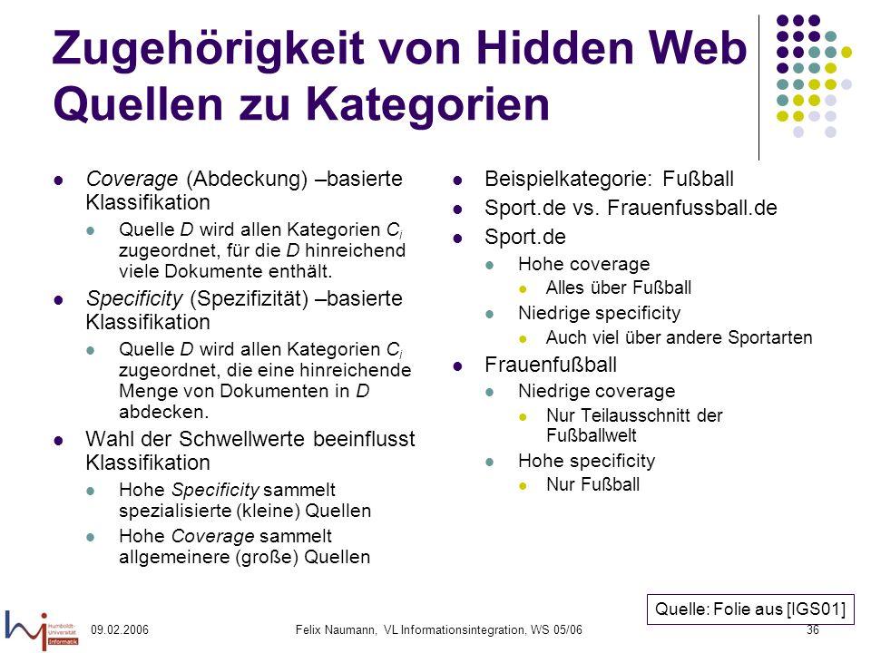 09.02.2006Felix Naumann, VL Informationsintegration, WS 05/0636 Zugehörigkeit von Hidden Web Quellen zu Kategorien Coverage (Abdeckung) –basierte Klassifikation Quelle D wird allen Kategorien C i zugeordnet, für die D hinreichend viele Dokumente enthält.