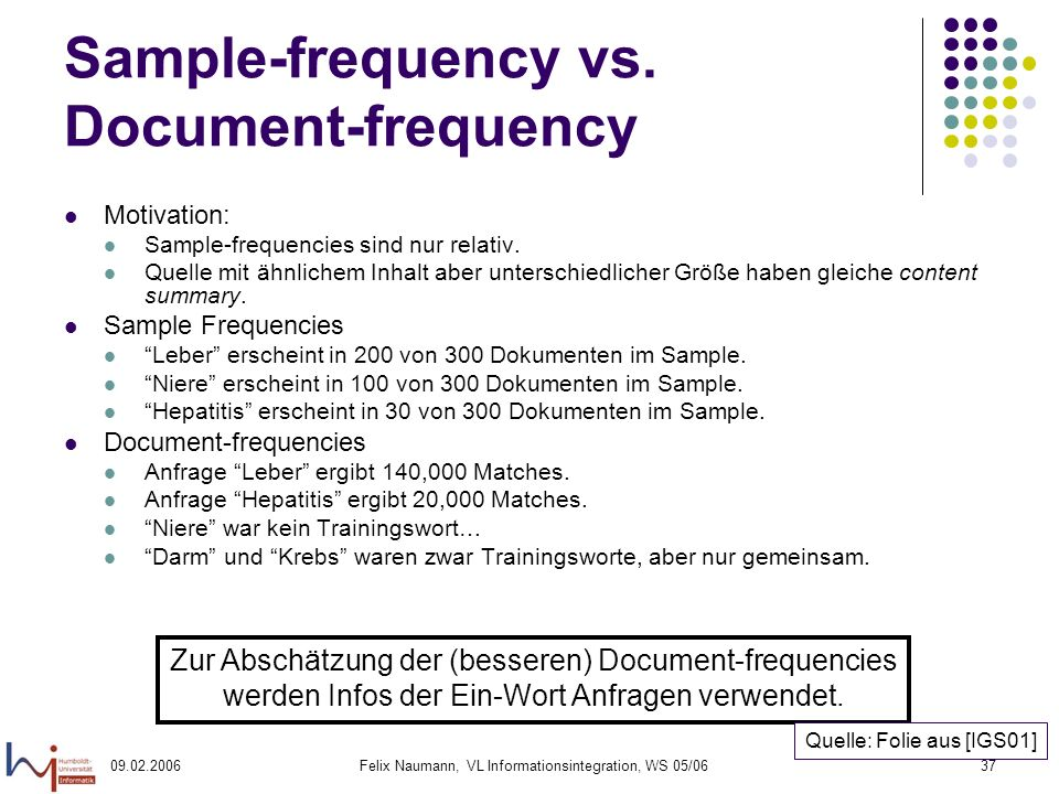 09.02.2006Felix Naumann, VL Informationsintegration, WS 05/0637 Sample-frequency vs.