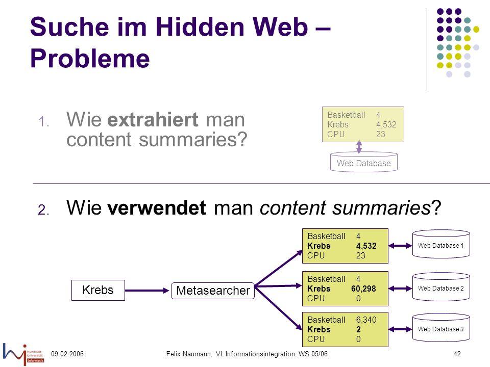 09.02.2006Felix Naumann, VL Informationsintegration, WS 05/0642 Suche im Hidden Web – Probleme 1.