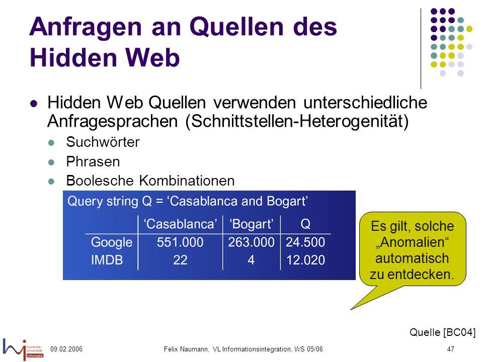 09.02.2006Felix Naumann, VL Informationsintegration, WS 05/0647 Anfragen an Quellen des Hidden Web Hidden Web Quellen verwenden unterschiedliche Anfra
