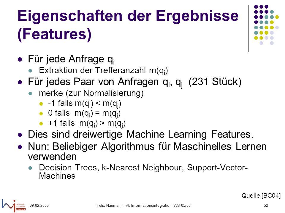09.02.2006Felix Naumann, VL Informationsintegration, WS 05/0652 Eigenschaften der Ergebnisse (Features) Für jede Anfrage q i Extraktion der Trefferanzahl m(q i ) Für jedes Paar von Anfragen q i, q j (231 Stück) merke (zur Normalisierung) -1 falls m(q i ) < m(q j ) 0 falls m(q i ) = m(q j ) +1 falls m(q i ) > m(q j ) Dies sind dreiwertige Machine Learning Features.