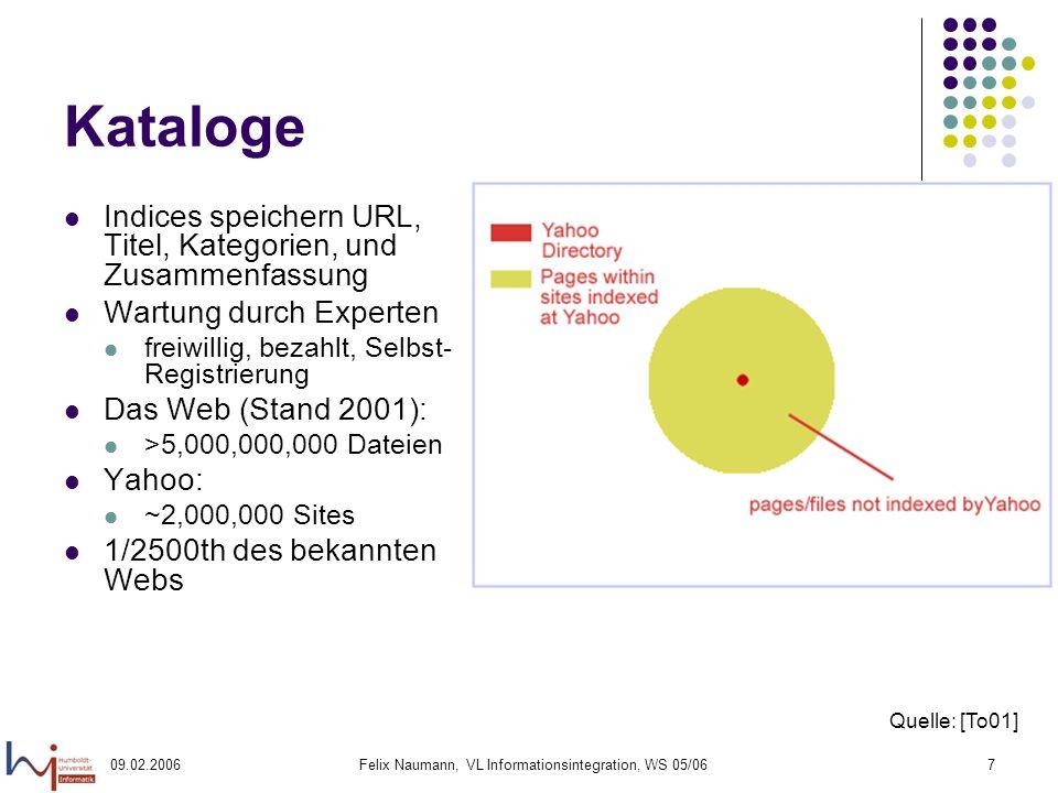 09.02.2006Felix Naumann, VL Informationsintegration, WS 05/067 Kataloge Indices speichern URL, Titel, Kategorien, und Zusammenfassung Wartung durch Experten freiwillig, bezahlt, Selbst- Registrierung Das Web (Stand 2001): >5,000,000,000 Dateien Yahoo: ~2,000,000 Sites 1/2500th des bekannten Webs Quelle: [To01]