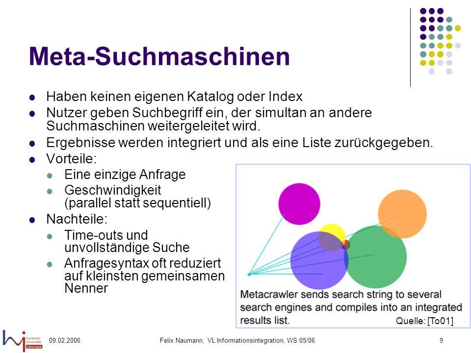 09.02.2006Felix Naumann, VL Informationsintegration, WS 05/069 Meta-Suchmaschinen Haben keinen eigenen Katalog oder Index Nutzer geben Suchbegriff ein, der simultan an andere Suchmaschinen weitergeleitet wird.