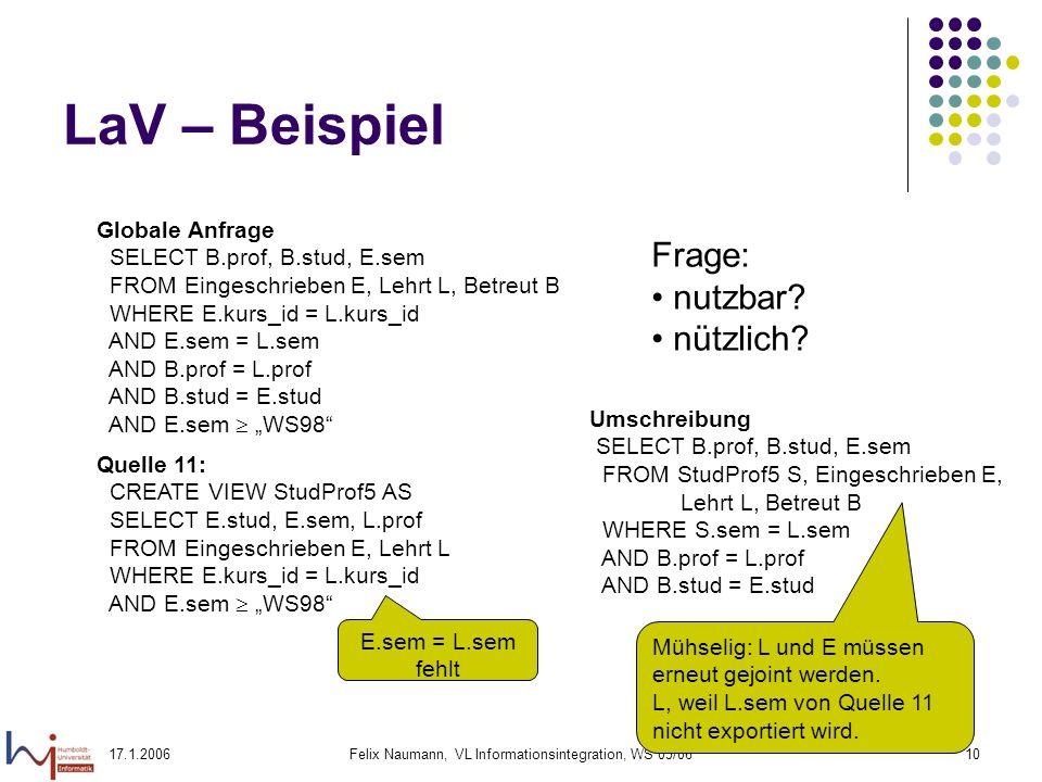 17.1.2006Felix Naumann, VL Informationsintegration, WS 05/0610 LaV – Beispiel Globale Anfrage SELECT B.prof, B.stud, E.sem FROM Eingeschrieben E, Lehrt L, Betreut B WHERE E.kurs_id = L.kurs_id AND E.sem = L.sem AND B.prof = L.prof AND B.stud = E.stud AND E.sem WS98 Quelle 11: CREATE VIEW StudProf5 AS SELECT E.stud, E.sem, L.prof FROM Eingeschrieben E, Lehrt L WHERE E.kurs_id = L.kurs_id AND E.sem WS98 Frage: nutzbar.