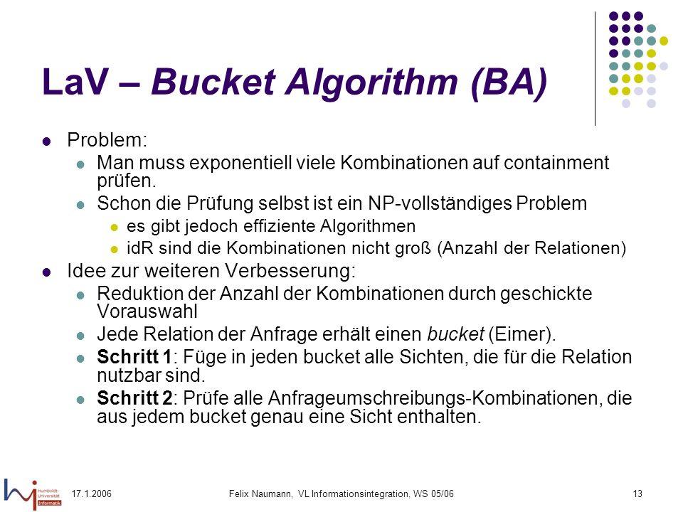17.1.2006Felix Naumann, VL Informationsintegration, WS 05/0613 LaV – Bucket Algorithm (BA) Problem: Man muss exponentiell viele Kombinationen auf containment prüfen.