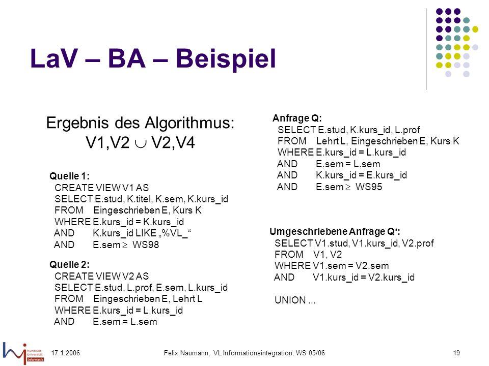 17.1.2006Felix Naumann, VL Informationsintegration, WS 05/0619 LaV – BA – Beispiel Ergebnis des Algorithmus: V1,V2 V2,V4 Quelle 1: CREATE VIEW V1 AS SELECT E.stud, K.titel, K.sem, K.kurs_id FROM Eingeschrieben E, Kurs K WHERE E.kurs_id = K.kurs_id AND K.kurs_id LIKE %VL_ AND E.sem WS98 Quelle 2: CREATE VIEW V2 AS SELECT E.stud, L.prof, E.sem, L.kurs_id FROM Eingeschrieben E, Lehrt L WHERE E.kurs_id = L.kurs_id AND E.sem = L.sem Anfrage Q: SELECT E.stud, K.kurs_id, L.prof FROM Lehrt L, Eingeschrieben E, Kurs K WHERE E.kurs_id = L.kurs_id AND E.sem = L.sem AND K.kurs_id = E.kurs_id AND E.sem WS95 Umgeschriebene Anfrage Q: SELECT V1.stud, V1.kurs_id, V2.prof FROM V1, V2 WHERE V1.sem = V2.sem AND V1.kurs_id = V2.kurs_id UNION...