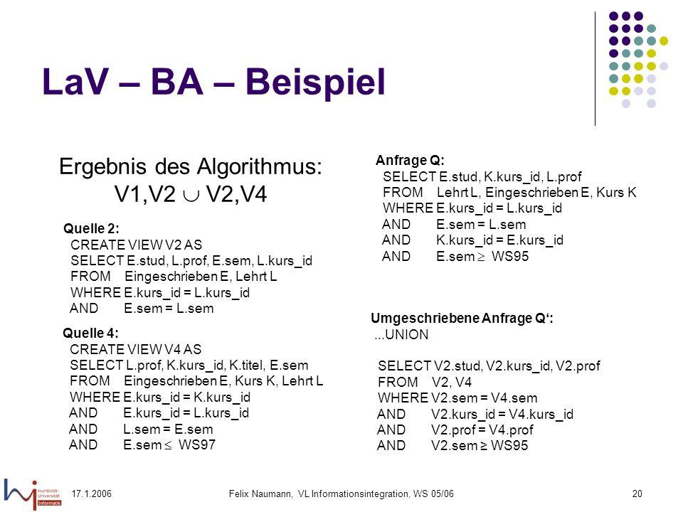 17.1.2006Felix Naumann, VL Informationsintegration, WS 05/0620 LaV – BA – Beispiel Ergebnis des Algorithmus: V1,V2 V2,V4 Quelle 2: CREATE VIEW V2 AS SELECT E.stud, L.prof, E.sem, L.kurs_id FROM Eingeschrieben E, Lehrt L WHERE E.kurs_id = L.kurs_id AND E.sem = L.sem Anfrage Q: SELECT E.stud, K.kurs_id, L.prof FROM Lehrt L, Eingeschrieben E, Kurs K WHERE E.kurs_id = L.kurs_id AND E.sem = L.sem AND K.kurs_id = E.kurs_id AND E.sem WS95 Umgeschriebene Anfrage Q:...UNION SELECT V2.stud, V2.kurs_id, V2.prof FROM V2, V4 WHERE V2.sem = V4.sem AND V2.kurs_id = V4.kurs_id AND V2.prof = V4.prof AND V2.sem WS95 Quelle 4: CREATE VIEW V4 AS SELECT L.prof, K.kurs_id, K.titel, E.sem FROM Eingeschrieben E, Kurs K, Lehrt L WHERE E.kurs_id = K.kurs_id AND E.kurs_id = L.kurs_id AND L.sem = E.sem AND E.sem WS97