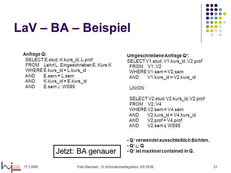 17.1.2006Felix Naumann, VL Informationsintegration, WS 05/0621 LaV – BA – Beispiel Anfrage Q: SELECT E.stud, K.kurs_id, L.prof FROM Lehrt L, Eingeschrieben E, Kurs K WHERE E.kurs_id = L.kurs_id AND E.sem = L.sem AND K.kurs_id = E.kurs_id AND E.sem WS95 Umgeschriebene Anfrage Q: SELECT V1.stud, V1.kurs_id, V2.prof FROM V1, V2 WHERE V1.sem = V2.sem AND V1.kurs_id = V2.kurs_id UNION SELECT V2.stud, V2.kurs_id, V2.prof FROM V2, V4 WHERE V2.sem = V4.sem AND V2.kurs_id = V4.kurs_id AND V2.prof = V4.prof AND V2.sem WS95 - Q verwendet ausschließlich Sichten.